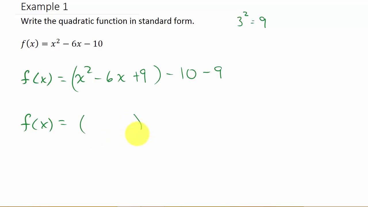 Convert Quadratic Equation To Standard Form Example 6
