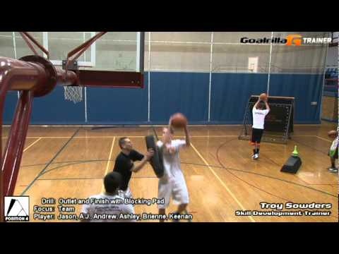 Outlet and Finish Drill with Blocking Pad (Team): Goalrilla G Trainer Basketball Drill
