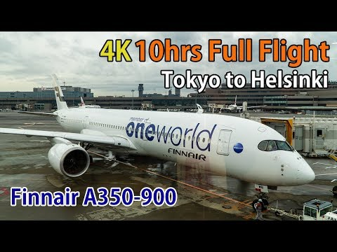 4K 10hours Full flight video, Tokyo (Narita) to Helsinki, A350-900, Finnair