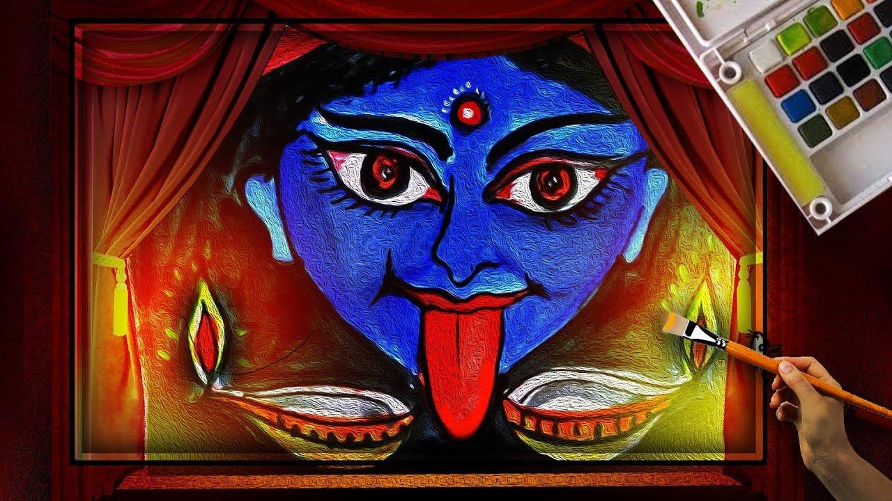 How To Draw Diwali Greeting Maa Kali Devi Drawing Easy Diwali Lamp Drawing For Kids