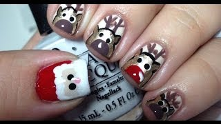 Santa & Reindeer Christmas Nails Tutorial