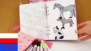 Rysowanie i malowanie w kalendarzu | zwierzęta: pies, koń, kot | pomysł na ozdobienie notesu