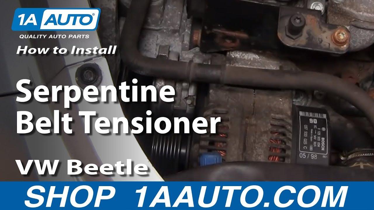 how to replace serpentine belt tensioner 98 05 volkswagen beetle 1a auto [ 1280 x 720 Pixel ]