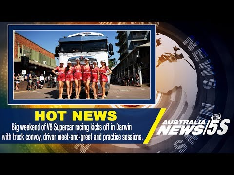 Big weekend of V8 Supercar racing kicks off in Darwin with truck convoy, driver meet-and-greet...