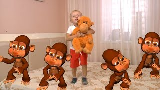 Five Little Babies Jumping on the Bed | Kids Song with Monkeys