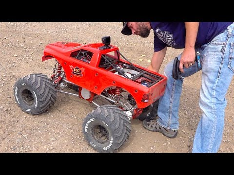 MAN and his GIANT TOY MEGA TRUCK! GAS POWER 49cc Engine - 80lb RAMINATOR | RC ADVENTURES