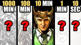 Drawing LOKI in 1000 Minutes | 100 Minutes | 10 Minutes | 1 Minutes & 10 Seconds!