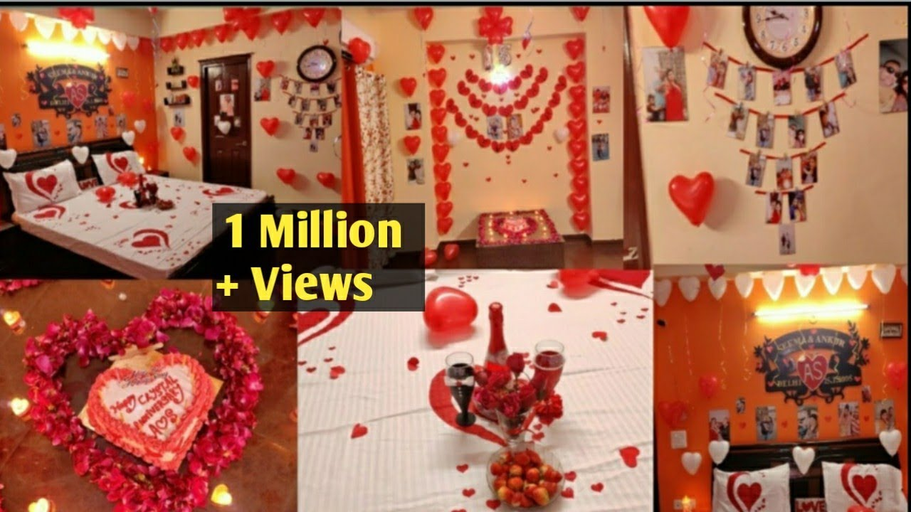 Anniversary Decoration Ideas At Home Surprise Decoration For Husband Romantic Room Decoration Youtube