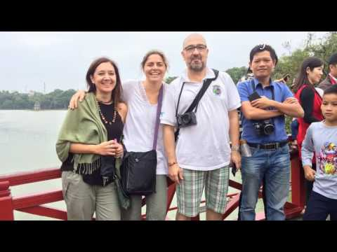 Hanoi tours from Hai Phong, Ms. Claudia with friends in Hanoi