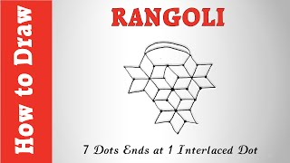 How to Draw Rangoli Art Using 7 Dots Ends at 1 Interlaced Dot