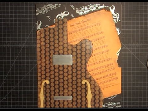 Wall Art Mixed Media Guitar and Music Sheet Part 1 of 2