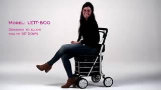 Carlett Lett800 Deluxe Walk & Rest Shopping Trolley with Seat, Backrest, Park Brake and Safety Brake