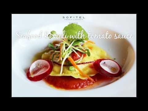 Seafood ravioli with tomato sauce