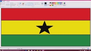 Draw the Ghana flag on paint