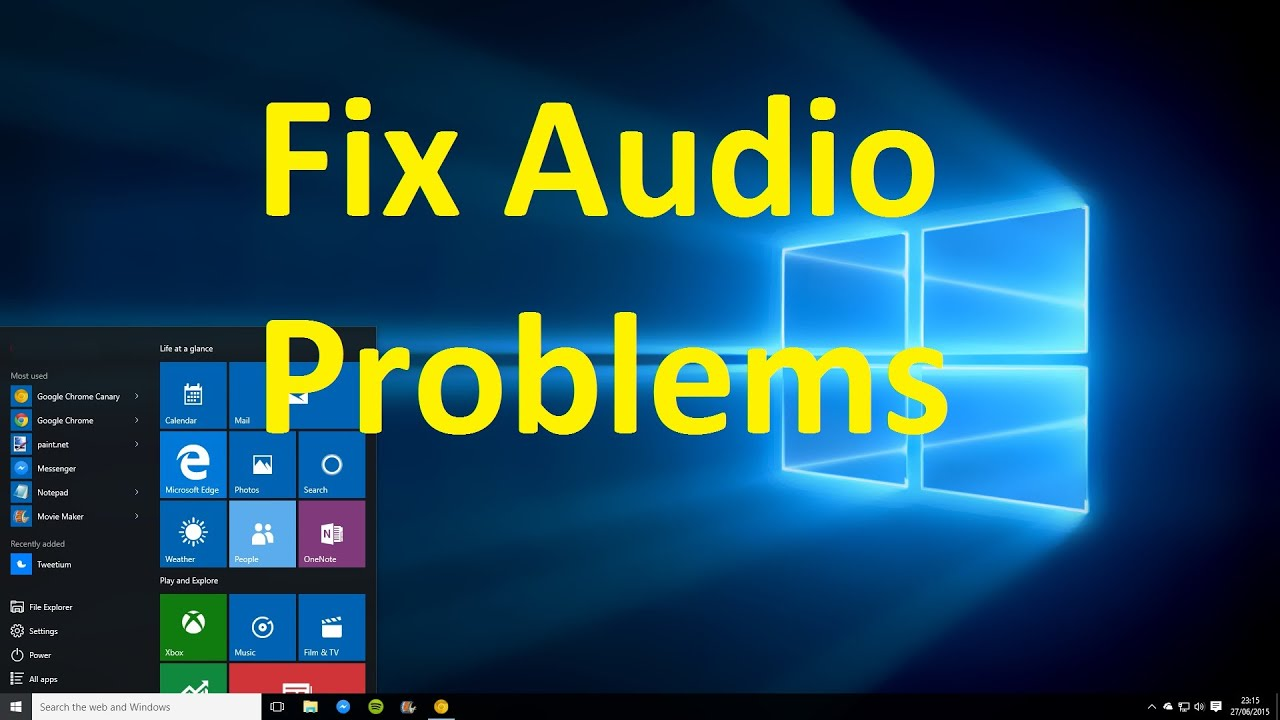 how to fix sound or audio problems on windows 10