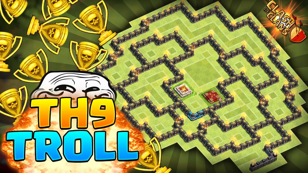 Best townhall 9 trolling base clan wars and trophy base youtube