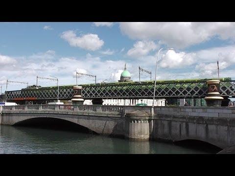 Train crossing the river Liffey in Dublin