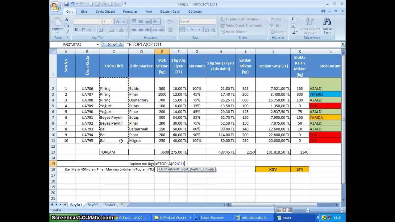 020-1- Microsoft Excel 2010 - Stok Takip Uygulaması - Stok ...