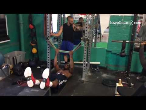 Alex Oriakhi works out at Lowell
