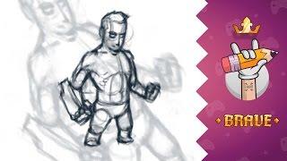 Рисуем супергероя #1 || Создание персонажа для игры(Процесс создания скетча персонажа игры. Рисуем скетч супергероя для дальнейшей раскраски и анимации. ..., 2014-08-28T10:57:14.000Z)