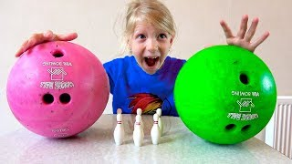 Family Table Bowling Fun Video for Kids and children play hide and seek