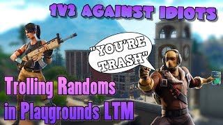 EXPOSING TRASH TALKERS IN 2V1 BATTLE - Fortnite Playgrounds Funny Moments Trolling Dumb Kids