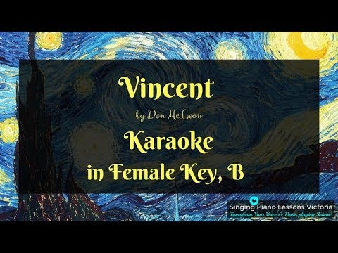 Vincent by Don McLean, Karaoke in Female Key B HQ