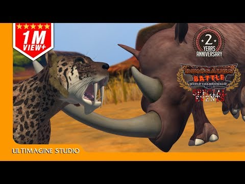 smilodon VS Woolly Rhinoceros : Dinosaurs Battle Special
