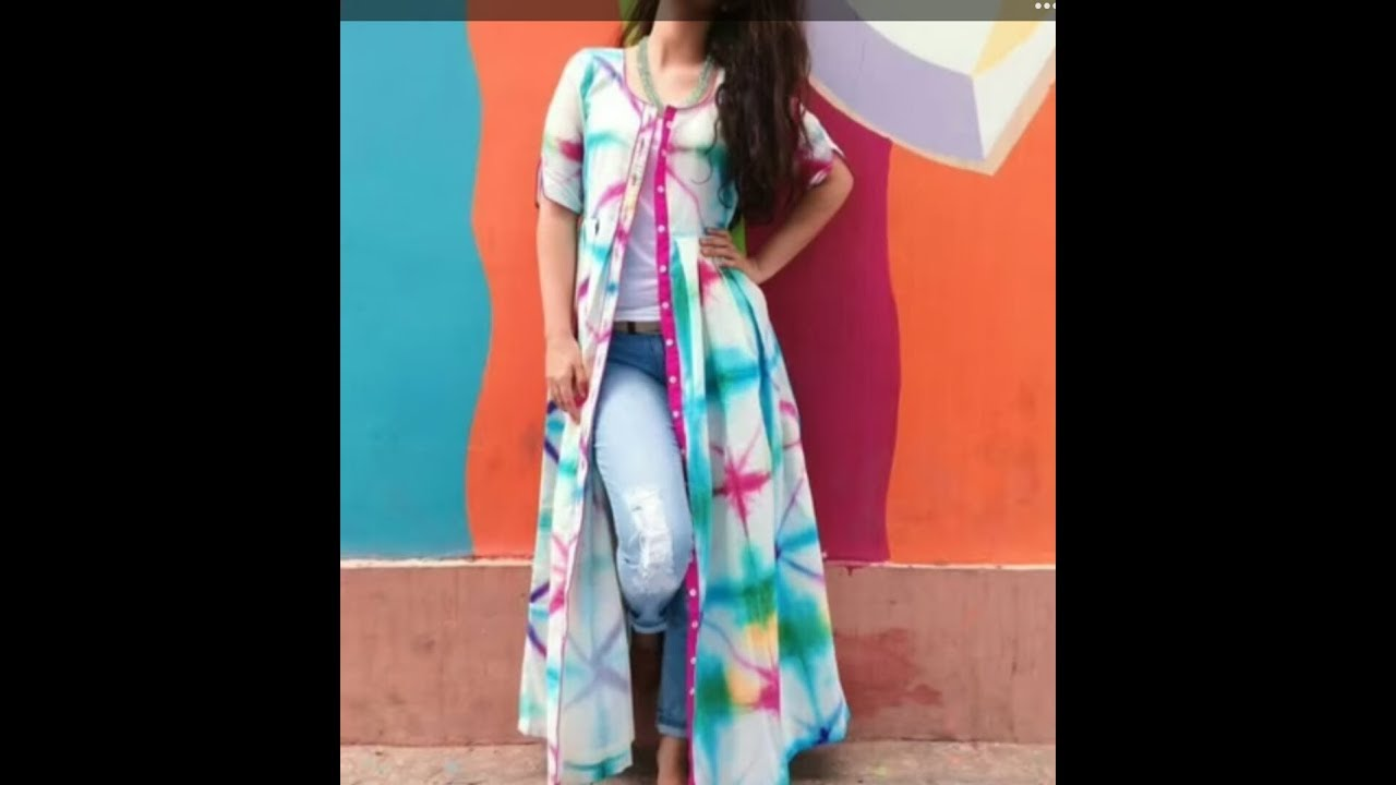 30041fd040f Latest Floral Front cut Long kurti with jeans | trending Fashion For Girls  / Women