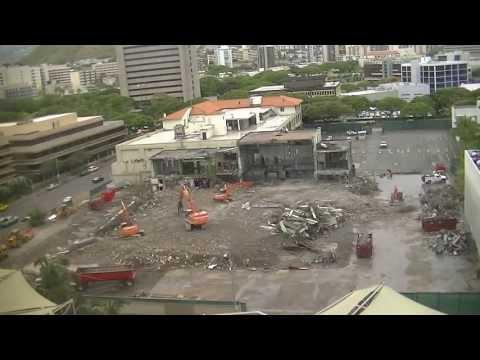 July 2, 2013 Time Lapse - Honolulu Advertiser building demolition. Honolulu, Hawaii