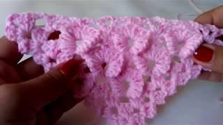 Красивый цветочный узор в 3Д для шалей и бактусов