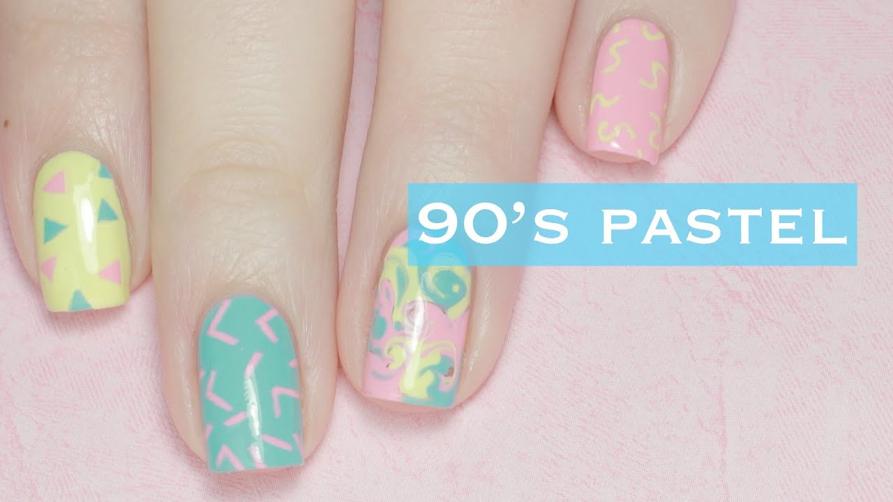 Easy Pastel Nail Art Designs 90s Inspired Youtube