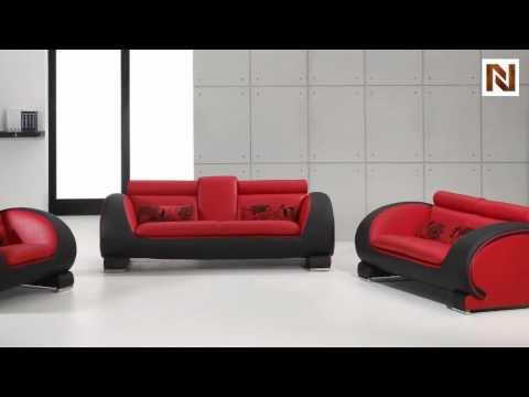 Delightful Red U0026 Black Bonded Leather Sofa Set VGDM2811RB BL   YouTube