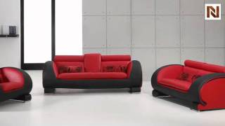 Red & Black Bonded Leather Sofa Set Vgdm2811rb-bl