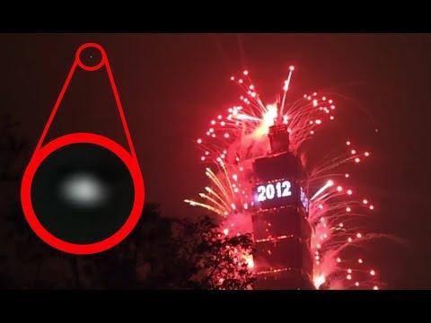 UFO Decends Over Taipei, Taiwan Fireworks, Jan 1, 2012. UFO Sighting News.