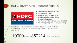 HDFC Equity Fund - Regular Plan - Growth || Mutual Fund || Mutual FUnd Investment || Investing ||