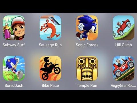 Subway Surfer,Sausage Run,Sonic Forces,Hill Climb,Sonic Dash,Bike Race,Temple Run