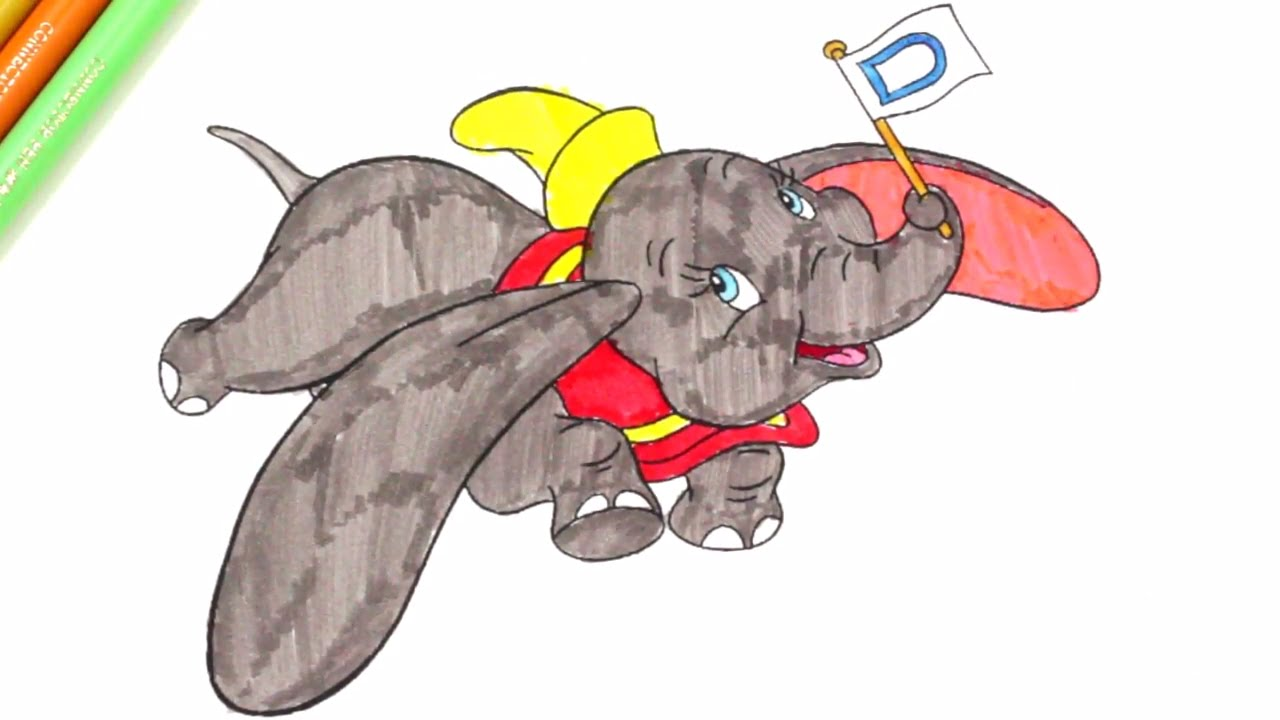 colouring dumbo elephant, cute animals colouring pages for kids