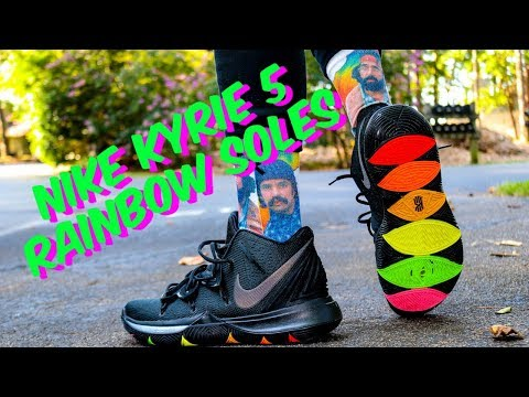 NIKE KYRIE 5 RAINBOW SOLES REVIEW & CLEAN ON FEET!!
