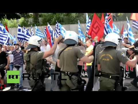 Greece: Golden Dawn supporters  fight police as MPs arrive at court