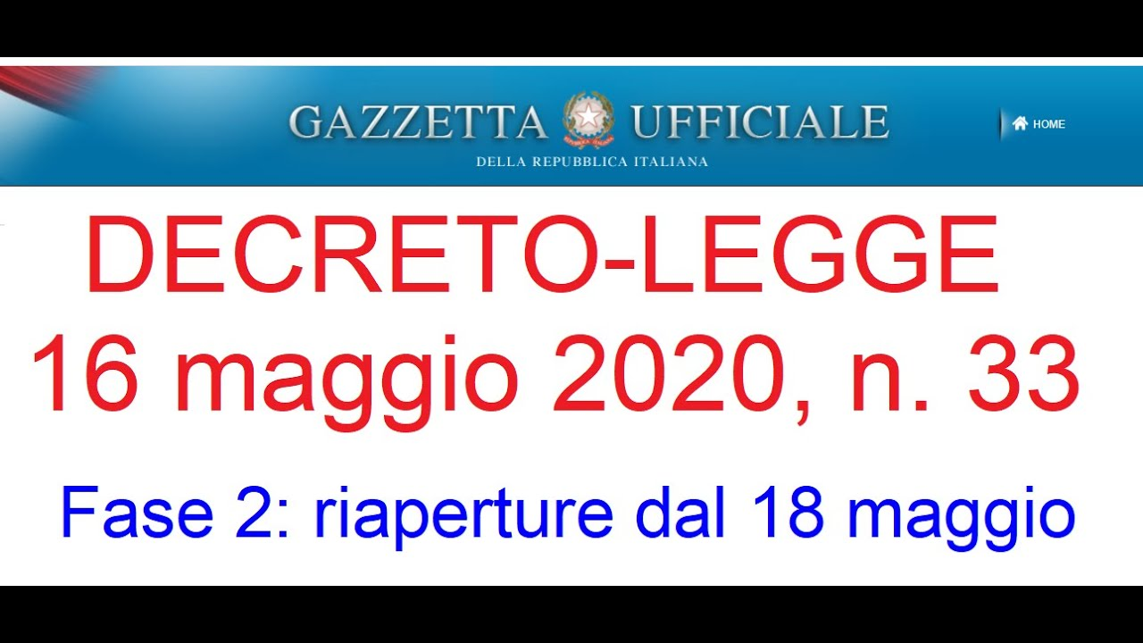 Decreto legge 15 maggio 2020 n. 33 - Riaperture totali della Fase ...
