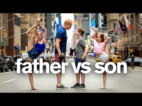 FATHER vs SON PHOTO CHALLENGE ft. Anna McNulty (jordan matter) | Hudson Matter
