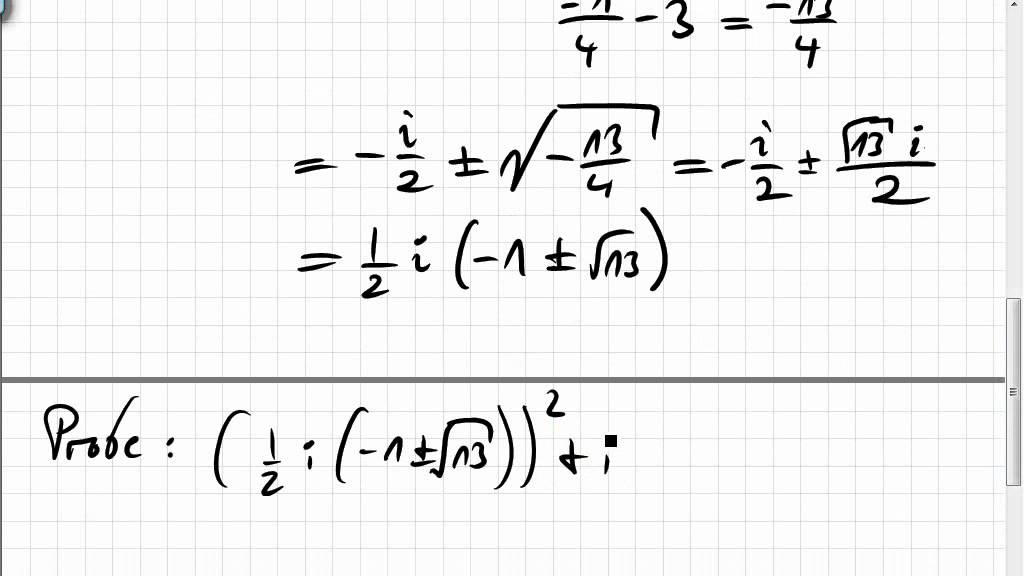 18A.3 Gleichungen und pq-Formel mit komplexen Zahlen - YouTube