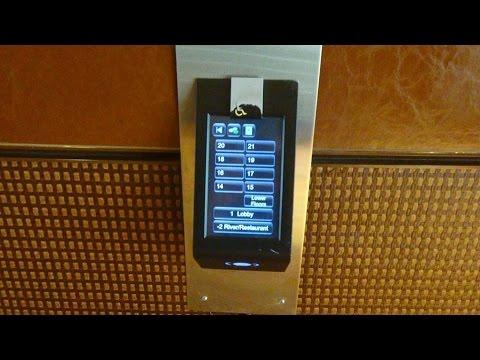 Schindler PORT Traction Elevators At Hilton Palacio Del Rio On The Riverwalk In San Antonio, TX.
