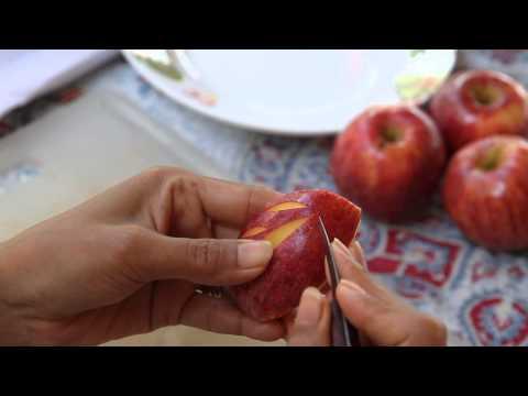 สอนแกะสลักผลไม้ Thai Fruit Carving แกะสลักแอบเปิ้ลเป็นใบไม้