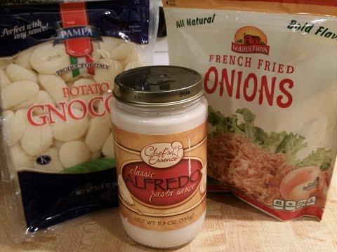 $3 Dollar Tree Dinner | Gnocchi Alfredo With Crunchy Onions