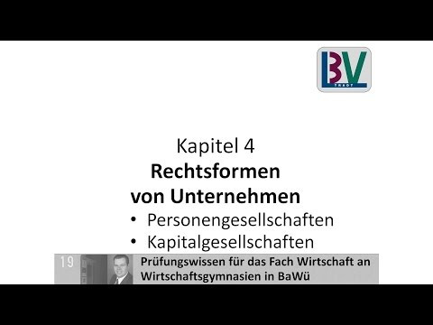 Rechtsformen Personengesellschaft KG OHG Kapitalgesellschaft AG GmbH [WG K04 T01]