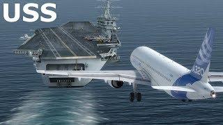 Máy bay A320 hạ cánh trên tàu sân bay