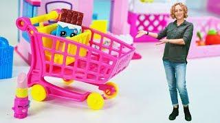 Spielzeugvideo für Kinder -  Der Shopkins Mini Market - Spielspaß mit Puppen