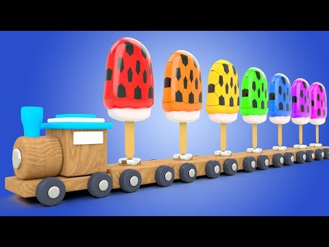 Learn Colors for Babies with Soccer Balls Soft IceCreams Toy Train Kids Children Toddler Educational